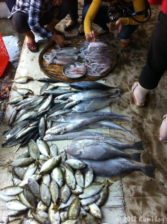 ニャチャンの市場の魚売り場