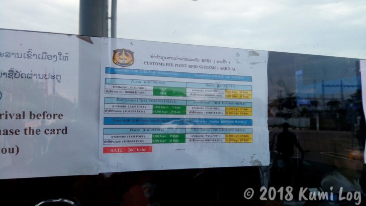 ラオス・ビエンチャン国境、One way ticket価格表