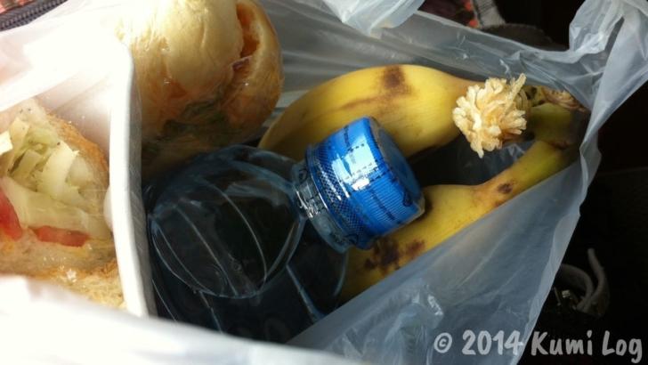 スローボートに持ち込んだバナナと水