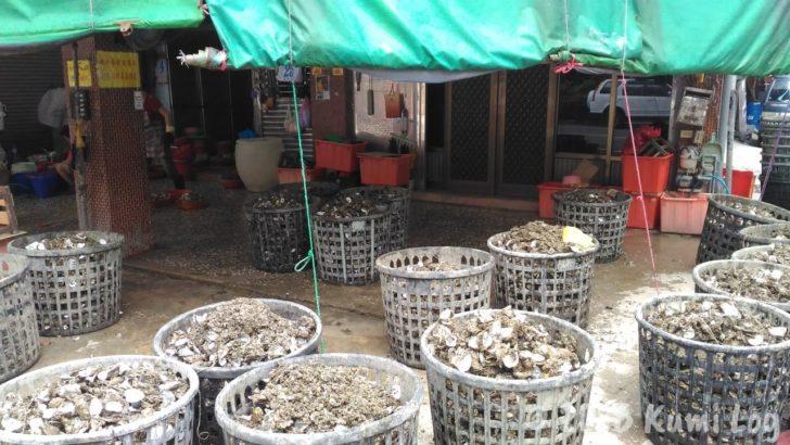 安平老街にあった大量の牡蠣の殻