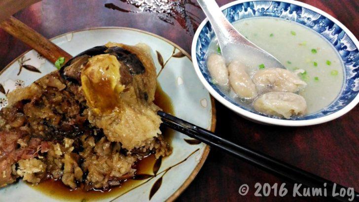 台南・再發號肉粽 粽とスープ