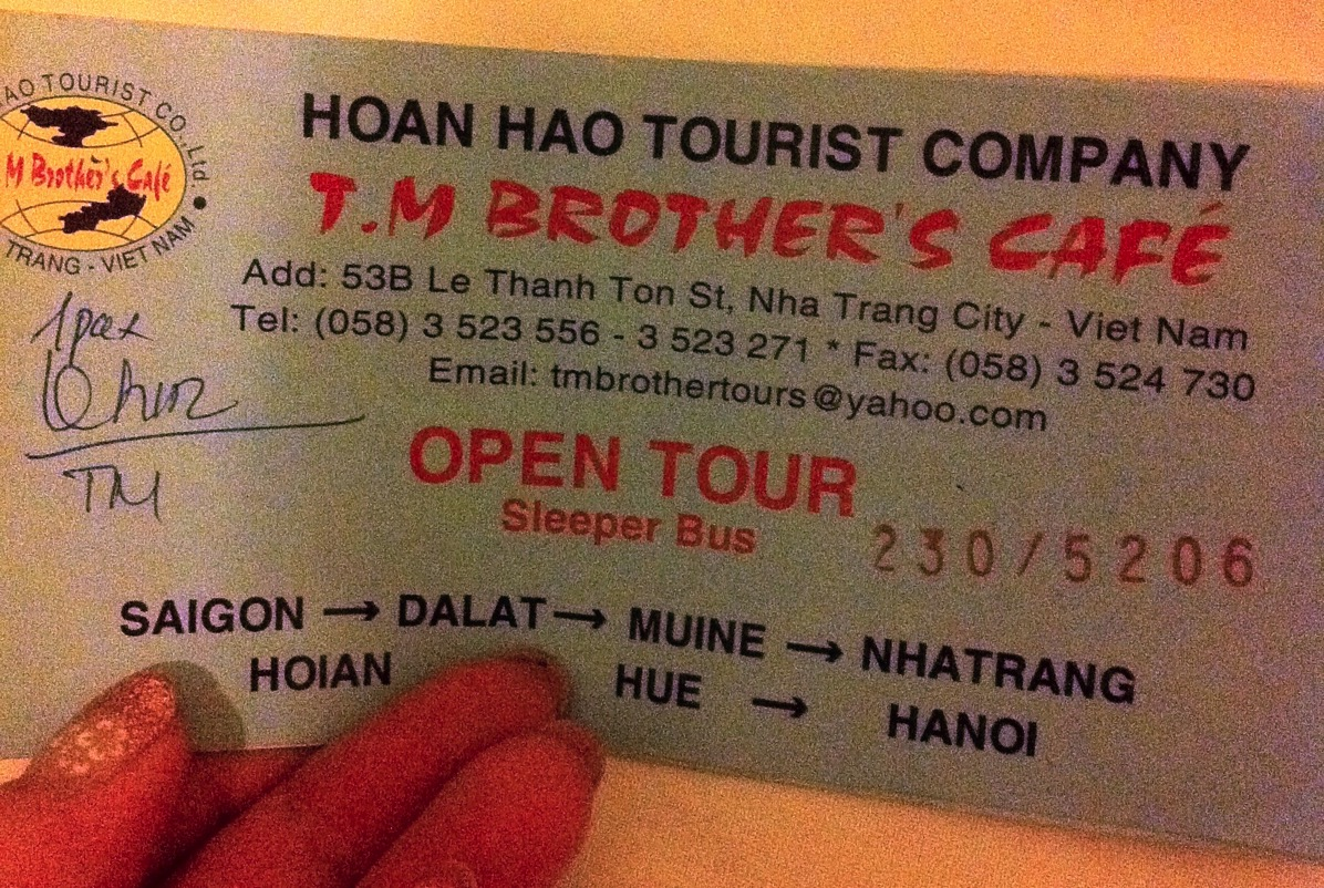 ベトナム・オープンツアーバスチケット
