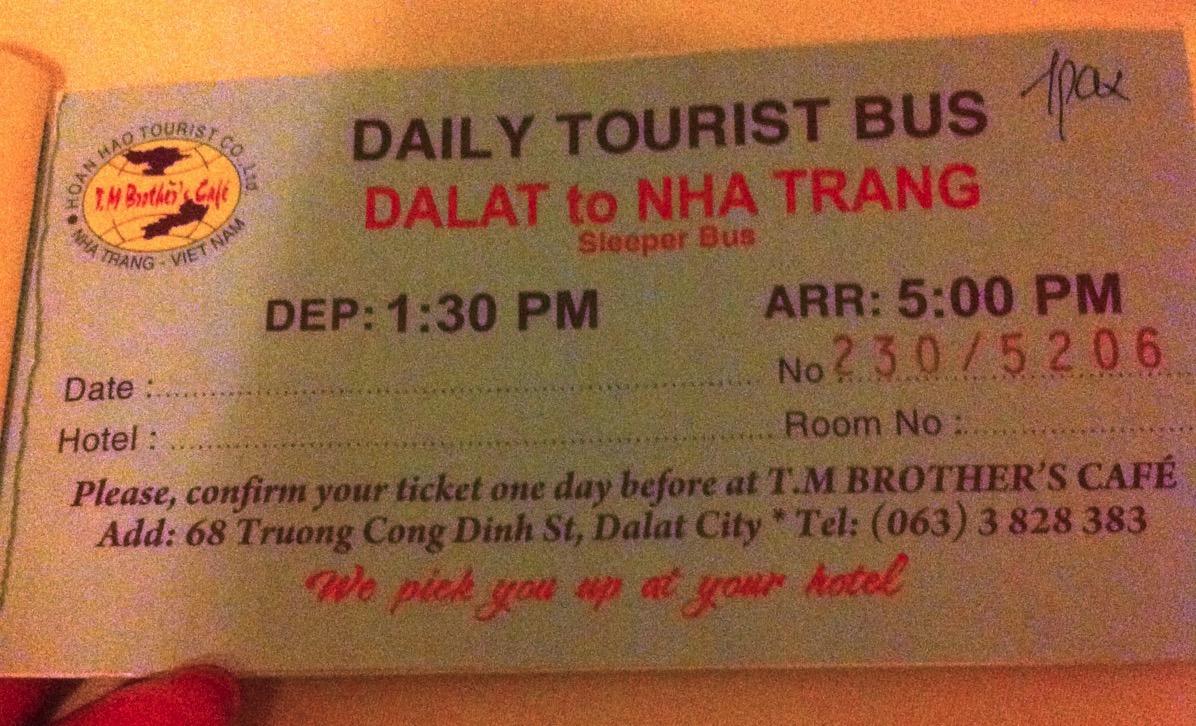 ベトナムバスチケット・ダラットからニャチャン