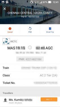 インド国鉄予約完了