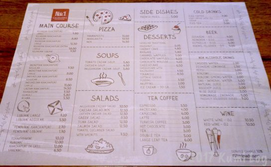 ジョージア・トビリシのレストランのメニュー