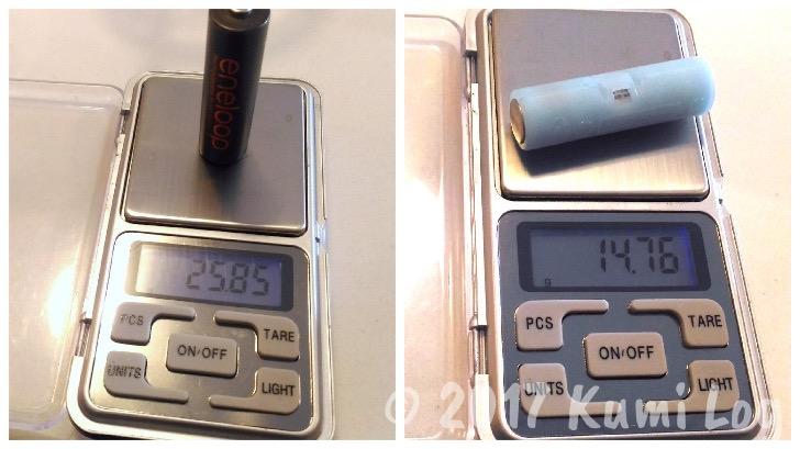 乾電池の重さ比較