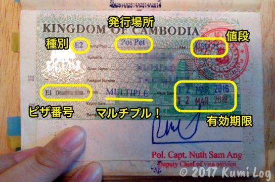 カンボジアのマルチプルビザ(注記つき)