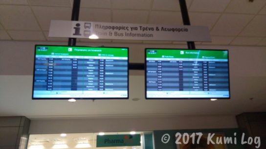 アテネ国際空港のバス・鉄道タイムテーブル