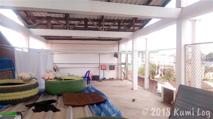 Green Boxの屋上、洗濯物が干せます