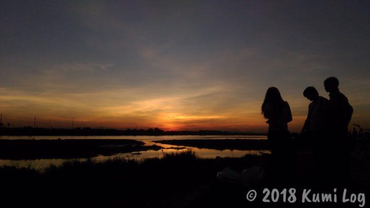 ビエンチャン・メコン川の夕日