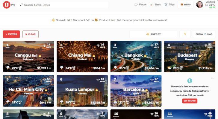 リモートワーク向け都市を見つけるNomad List - Cities
