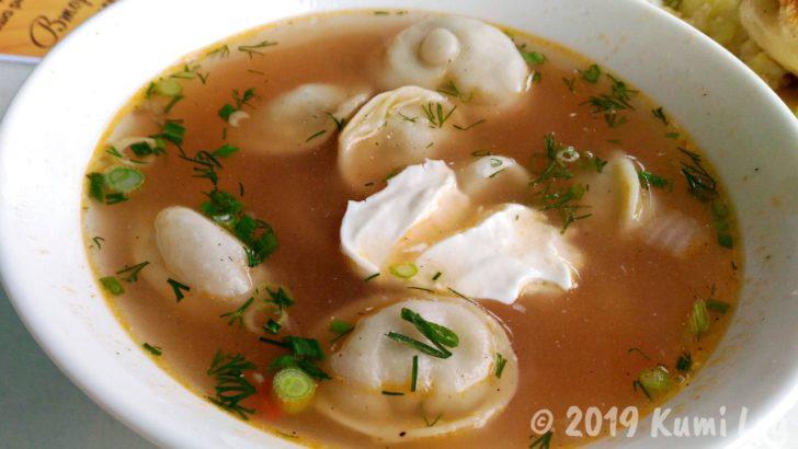 ペリメニとサワークリームのスープ