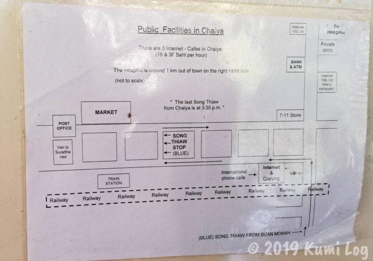 ワット・スワンモック提供、チャイヤ駅周りの地図