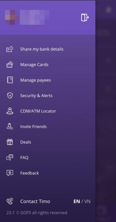 Timoアプリのメニュー画面