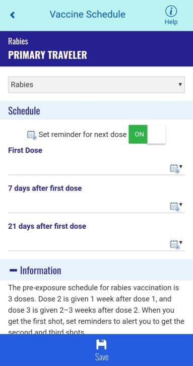 CDC TravWellのワクチン接種記録画面